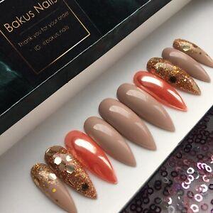 Hand Painted False Nails Nude Gold Glitter Chrome Stiletto Long Full Cover Tips
