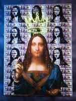 Original Painting Artwork SALVATOR MUNDI daVinci Pop Art Neon Crown Money Bansky
