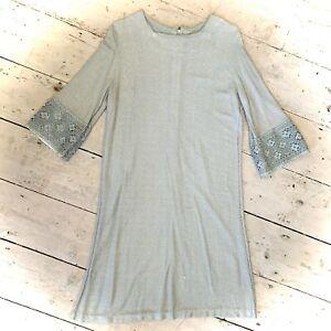 Vintage 1960's Lurex Silver Disco Mini Dress Size 10/12
