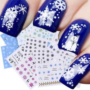 30 Sheets Nail Art Water Decal Stickers Snowflake Christmas Watermark Decoration