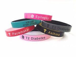Kids Medical Alert Wristband Silicone Custom Band Personalised Children 152mm