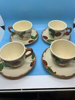 Vintage Franciscan Ware Apple Set of 4 Cups And Saucers