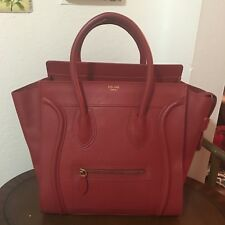 CELINE Luggage Mini Shopper Red Leather Tote Bag