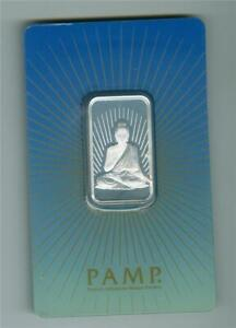 PAMP SUISSE Religious BUDDHA 10g .999 SILVER BAR GEM BU WITH TINY WHITE SPOTS