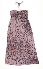 Ted Baker Halter Maxi Dress In Pewter Butterfly Print Size 2 / US 4