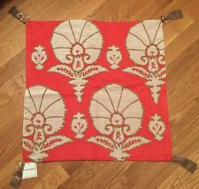 "NEW Williams Sonoma Home Ottoman Floral Velvet Appliqué 20"" Pillow Cover CORAL"