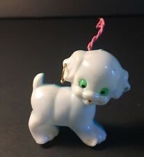 Vintage CELLULOID BLINKING EYES DOG Plastic Toy Antique WHITE BLUE Hong Kong