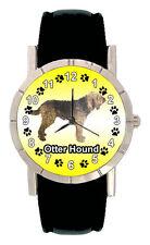 Otter Hound Puppy Dog Mens Ladies Genuine Leather Band Quartz Wrist Watch SA1167