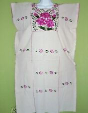 MEXICAN HUIPIL EMBROIDERED by HANDS BACK AND FRONT TUNIC PESANT DRESS BOHO VGTE