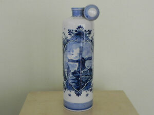 Vintage Delft Bottle Decanter Flask Ewer Pitcher Windmill Floral Made in Holland