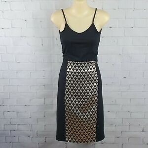 Sass Women's Black Gold Diamond Print Stretch Pencil Skirt Size 10 Colour Block