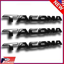3 x For Toyota Tacoma Tag Gloss Black Door Fender Emblem Decal Badge Nameplate