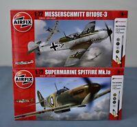 Airfix Spitfire Mk.Ia + Messerschmitt Bf109E 1:72 Bundle with Paint Glue Brush