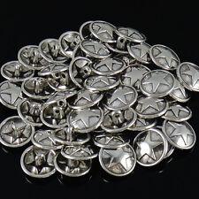 5 METALL KNÖPFE Ösenknopf Farbe Antik Silber 15 mm - STERN - p00kn0042-ei