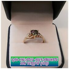 Lab-Created Heart-Shaped Alexandrite with CZ Accents in 10K Yellow Gold