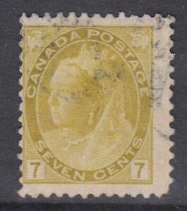"Canada Scott #81  7 cent olive yellow  ""QV Numeral""  F"