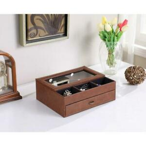 12 in. Brown Leather-like covered Tempered Glass Men Valet Box