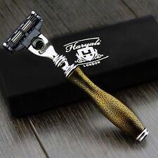 Gillette Mach 3 Maquinilla de Afeitar Hombre Maquinilla De Afeitar Afeitar en ORO MANGO LUJO Antiguo