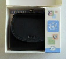 Fossil Black Leather Woman's Wallet With snap coin pouch NEW!!! with tags in box