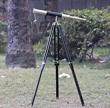 CHROME TELESCOPE WITH TRIPOD QLV BEAUTIFUL TELESCOPE ANTIQUE DOUBLE BARREL SELL