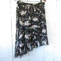 New $125 Ralph Lauren Skirt 8 M Medium Black Floral Asymmetric Hem Ruffle