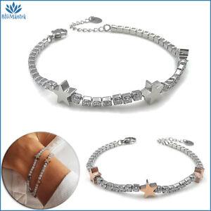 Bracciale da donna tennis stella stelline in acciaio inox braccialetto regalo a