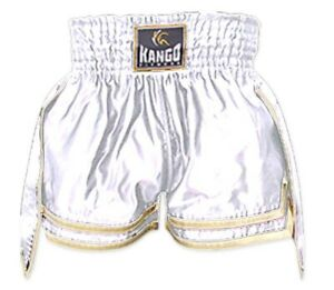 White Shiny Muay Thai Kick Boxing Shorts