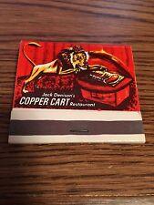 Vintage Matchbook Cover Jack Denison's Copper Cart Restaurant in Las Vegas, Nev.