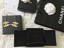 Authentic CHANEL Gold XL Logo CC DangLe Earrings 2017 Box Bag Receipt New