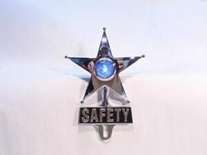 Light Up Blue Dot Vintage Style Safety Star License Plate Topper Hot Rat Rod