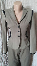 MarcCain khaki grey/green tailored tuxedo blazer with mesh parts size 6-8 UK