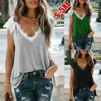 Womens Lace V-Neck T-Shirt Blouse Ladies Summer Casual Basic Tops Pullover UK
