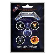 More details for metallica ride the lightning: button pin badges 5-badge pack official merch