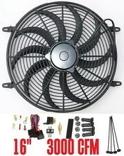 16 12V electric Fan S blade radiator Fan 3000CFM reversible thermostat relay kit