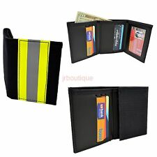 Firefighter Wallet Bunker Turnout Gear Leather Trifold Fire Dept Black Yellow