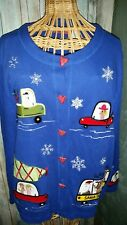 Onque Casuals Ugly Christmas Sweater Blue Size Large