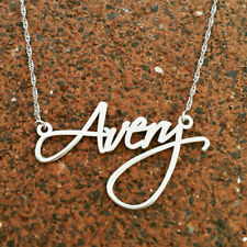 14k white gold necklace, White gold name necklace, gold necklace signature gift