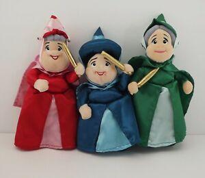 "Disney Sleeping Beauty Fairy Flora, Fauna, Merryweather Fairy Plush Doll Set 10"""