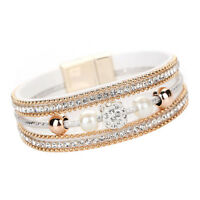 Fashion Magnetic Clasp Multilayer Leather Beaded Crystal Women Bracelet Bangle A