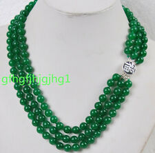 Charming!3Rows 8mm Natural Green Jade Gemstones Jewelry Necklace Silver Clasp