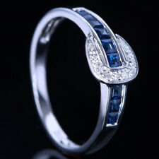 Sale Pave Setting Diamonds Sapphires Unique Band Wedding10K White Gold Fine Ring