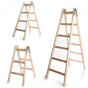 Leiter Holzleiter Klappleiter Haushaltsleiter 150kg 3-6 Stufen Klapptritt Steh