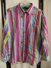 Tommy Hilfiger Psychedelic Bold Loud Striped Paisley Statement Shirt Sz XL EUC!