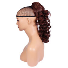 """17"""" PONYTAIL Clip in Hairpiece CURLY Dark Auburn #33 REVERSIBLE Claw Clip"""