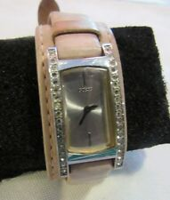 GUESS LEATHER CUFF,BRACELET BAND WITH CRYSTALS WATCH-