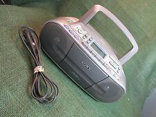 Sony CFD-S01 CD/Radio/Cassette Boom Box Mega Bass CD-R/RW Playback Silver WORKS