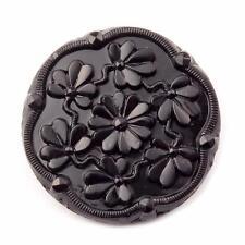 (1) 28mm Czech Deco vintage jet black floral 3 leaf clover art glass button
