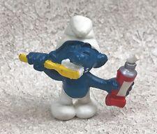 Vintage Schleich Peyo Smurf PVC Figure Brushing Teeth Toothpaste 1979