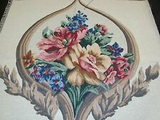 """NEW TAPESTRY SCROLL ROSE BOUQUET PILLOW TOP CRAFT FABRIC PANEL PIECE 27"""" square"""
