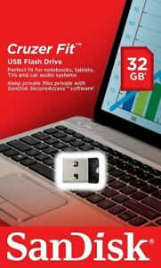 SanDisk Cruzer Fit Flash Drive 32GB USB 2.0 Memory Stick Mini USB Flash Drive